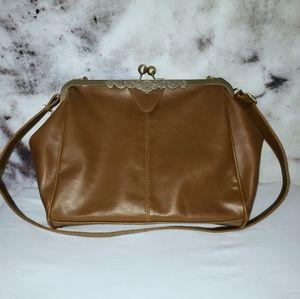 Vintage inspired frame brown foe leather purse